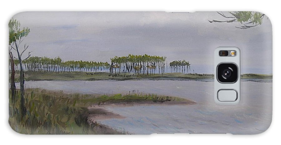 Landscape Beach Coast Tree Water Galaxy Case featuring the painting Water Color by Patricia Caldwell