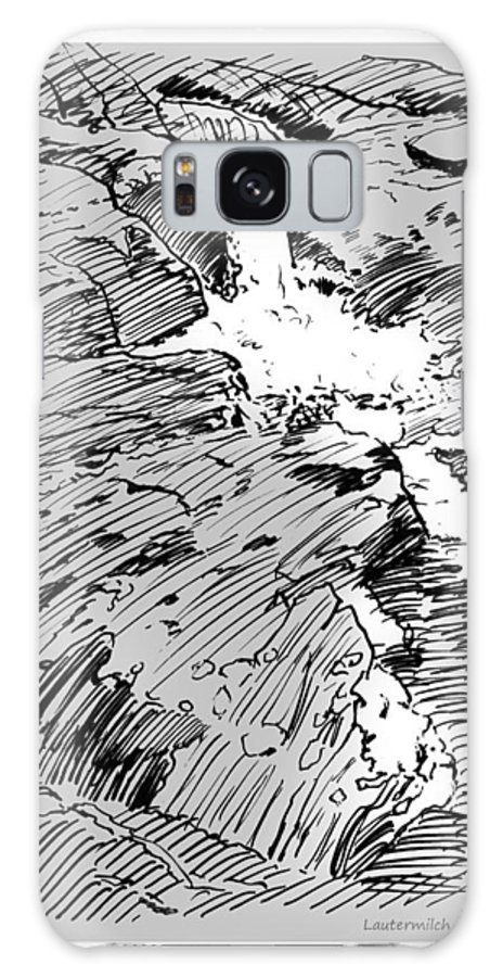 Water Fall Galaxy Case featuring the drawing Water Fall Rocky Mountains by John Lautermilch