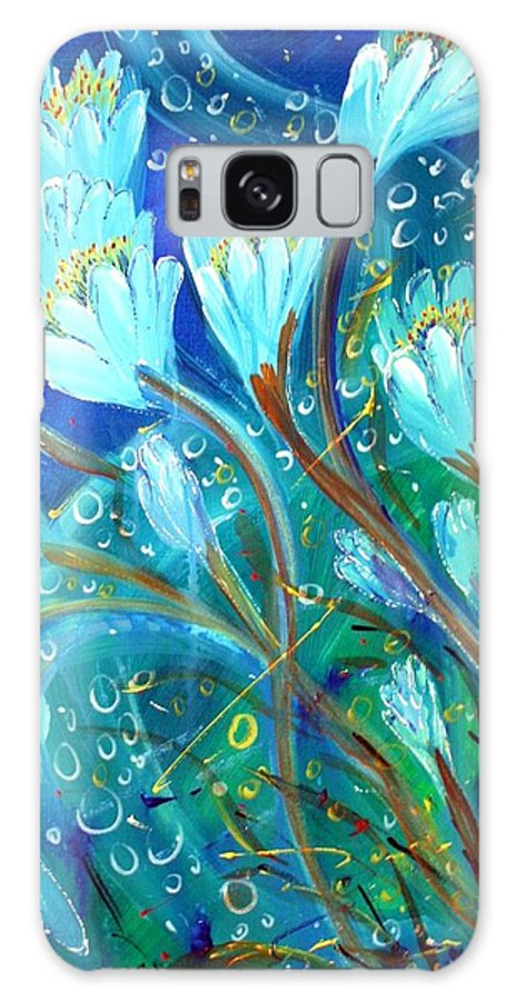 Flowers Galaxy S8 Case featuring the painting Water Flowers by Luiza Vizoli