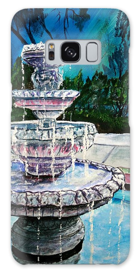 Acrylic Galaxy Case featuring the painting Water Fountain Acrylic Painting Art Print by Derek Mccrea
