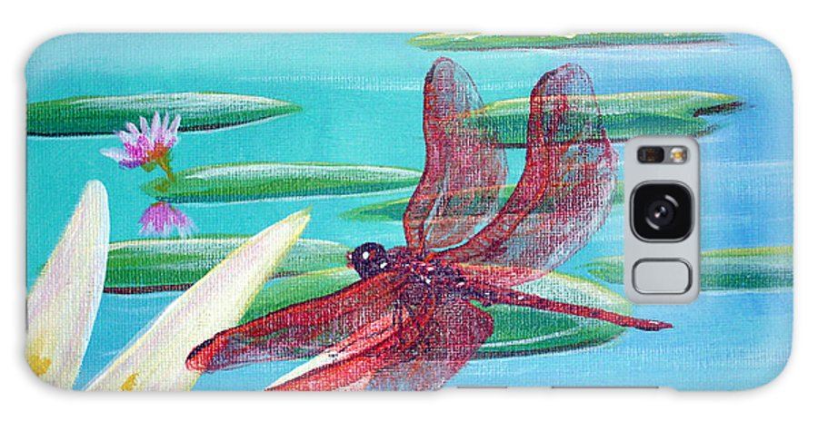 Water Galaxy Case featuring the painting Water Lilies And Dragonfly by Susan Kubes