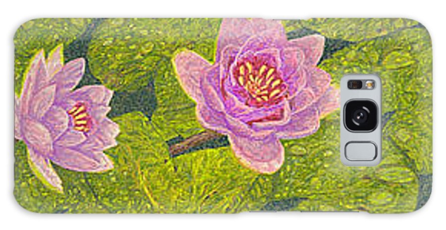 Water Lilies Galaxy S8 Case featuring the drawing Water Lilies Lily Flowers Lotuses Fine Art Prints Contemporary Modern Art Garden Nature Botanical by Baslee Troutman