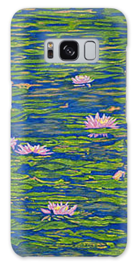 Lotuses Galaxy Case featuring the drawing Water Lily Flowers Happy Water Lilies Fine Art Prints Giclee High Quality Impressive Color Lotuses by Baslee Troutman