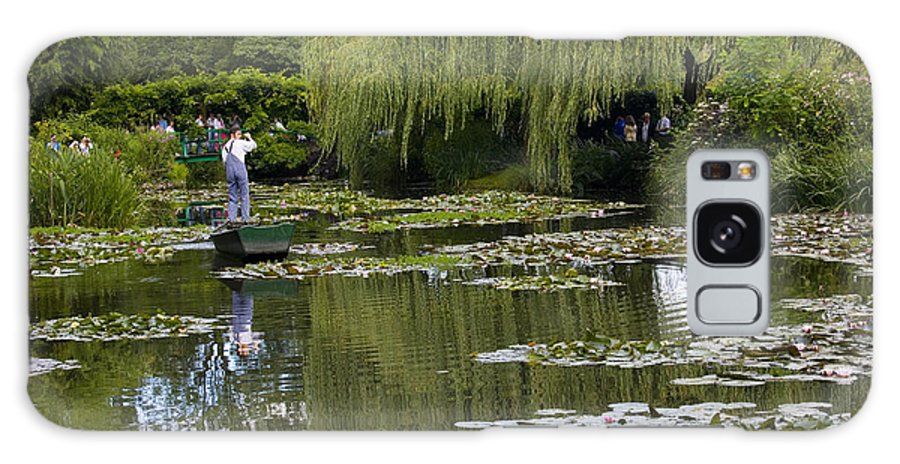Monet Gardens Giverny France Water Lily Punt Boat Water Willows Galaxy Case featuring the photograph Water Lily Garden Of Monet In Giverny by Sheila Smart Fine Art Photography