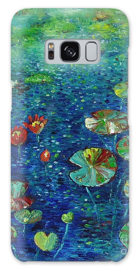 Lotus Paintings Galaxy Case featuring the painting Water Lily Lotus Lily Pads Paintings by Seon-Jeong Kim
