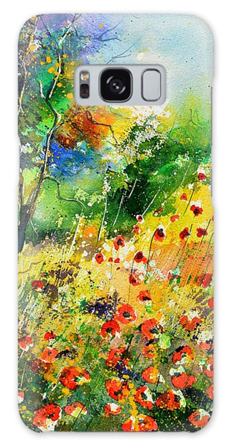Poppies Galaxy Case featuring the painting Watercolor poppies 518001 by Pol Ledent