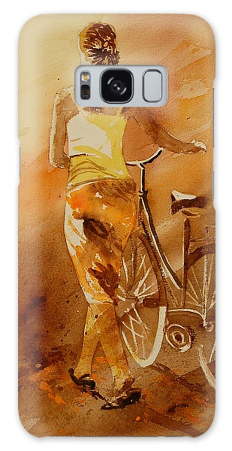 Figurative Galaxy S8 Case featuring the painting Watercolor With My Bike by Pol Ledent