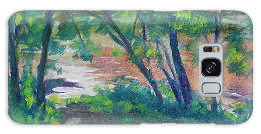 Landscape Galaxy S8 Case featuring the painting Watercress Beach On The Current River  by Jan Bennicoff