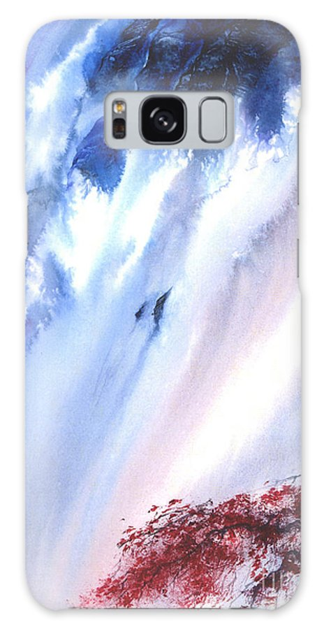 A Waterfall- A Watercolor Painting Galaxy Case featuring the painting Waterfall by Mui-Joo Wee