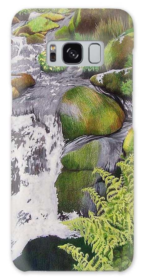 Waterfall Galaxy S8 Case featuring the mixed media Waterfall On Skye by Constance Drescher