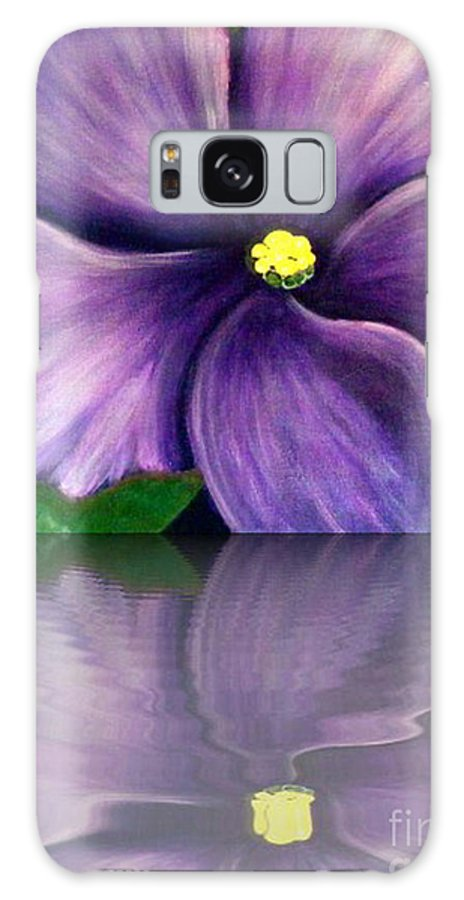 African Violet Galaxy S8 Case featuring the digital art Watery African Violet Reflection by Barbara Griffin