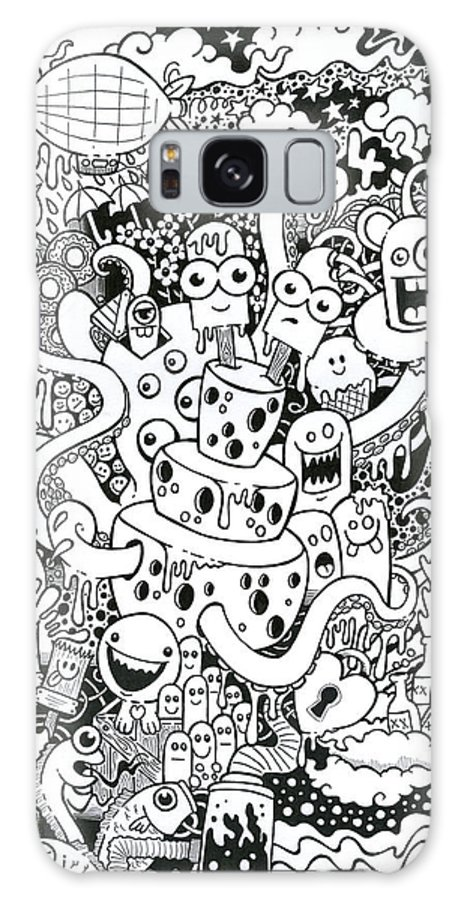 Illustration Galaxy S8 Case featuring the drawing We All Love Cheese by Samuel Whitton