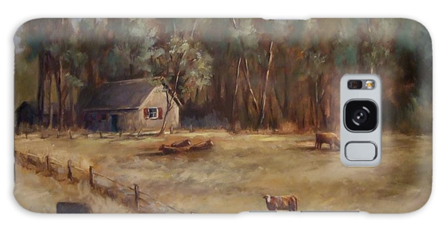 Landscape Cattle Hills Mountains Trees Sky Fence House Galaxy Case featuring the painting Weathered Shutters by Ruth Stromswold