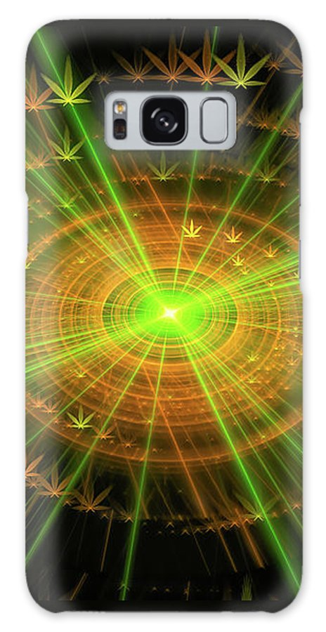 Weed Galaxy S8 Case featuring the digital art Weed Art Green And Golden Light Beams by Matthias Hauser