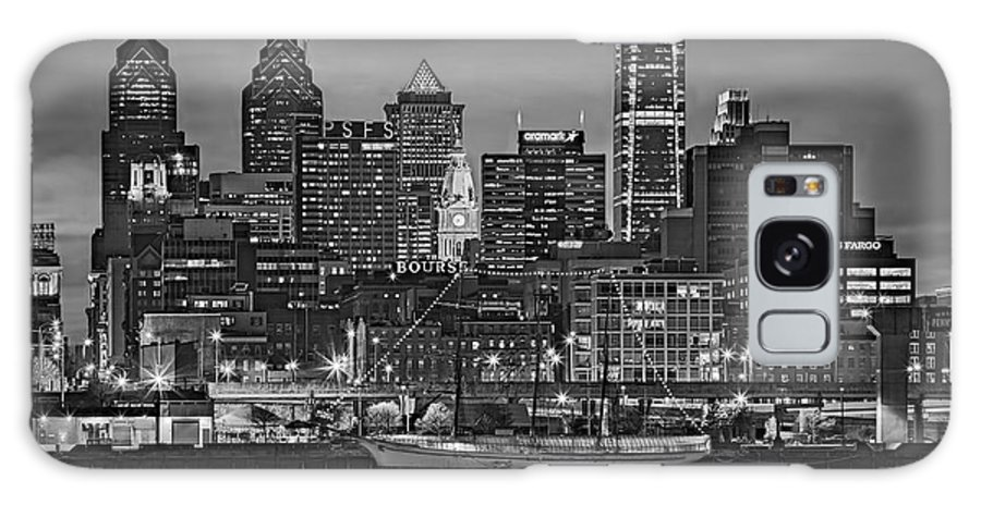 Philadelphia Skyline Galaxy S8 Case featuring the photograph Welcome To Penn's Landing Bw by Susan Candelario