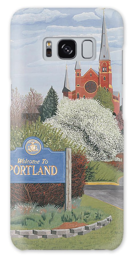 Church Galaxy S8 Case featuring the painting Welcome To Portland by Dominic White