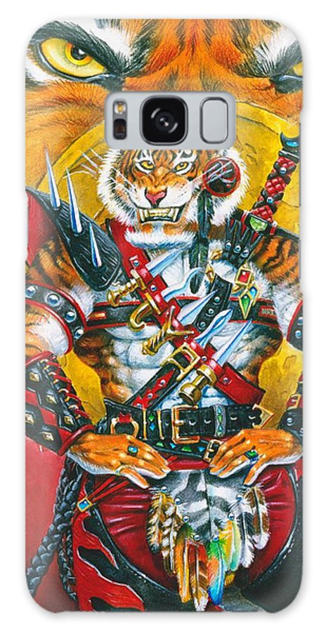 Fantasy Galaxy S8 Case featuring the painting Werecat Warrior by Melissa A Benson
