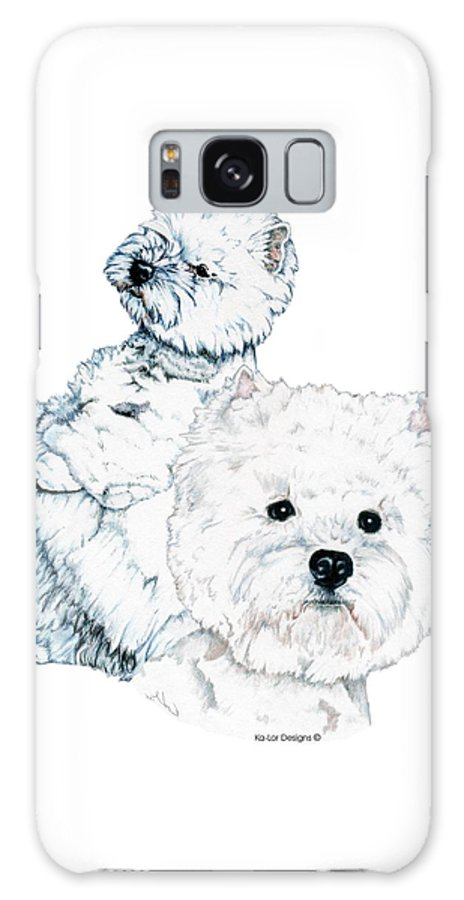 West Highland White Terrier Galaxy S8 Case featuring the drawing West Highland White Terriers by Kathleen Sepulveda