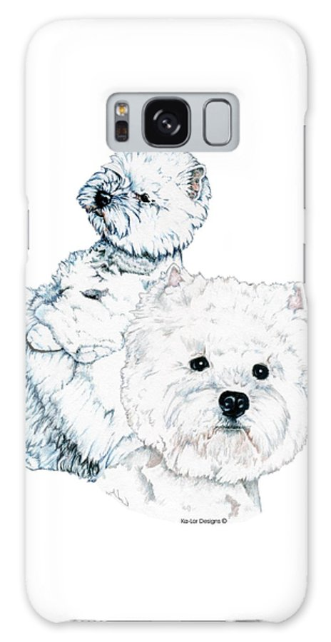West Highland White Terrier Galaxy Case featuring the drawing West Highland White Terriers by Kathleen Sepulveda