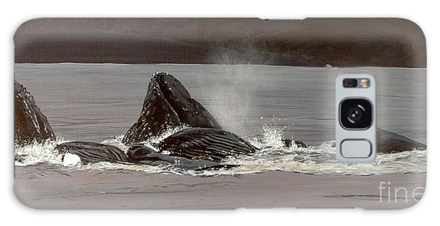 Whale Galaxy S8 Case featuring the painting Whales Feeding by Shawn Stallings