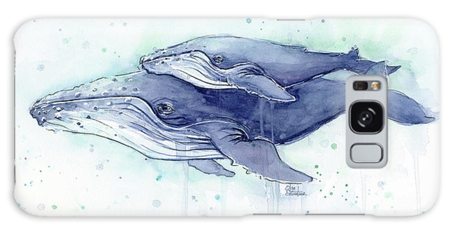 Whale Galaxy S8 Case featuring the painting Whales Humpback Watercolor Mom And Baby by Olga Shvartsur