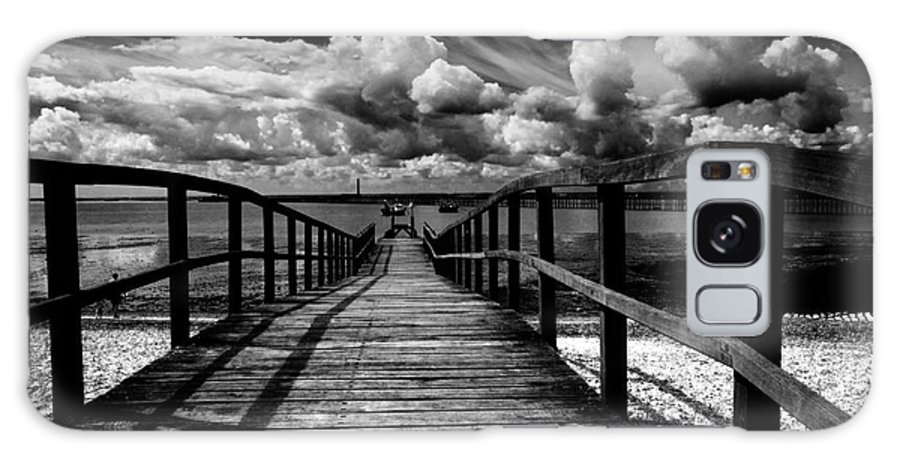 Southend On Sea Wharf Clouds Beach Sand Galaxy Case featuring the photograph Wharf At Southend On Sea by Sheila Smart Fine Art Photography