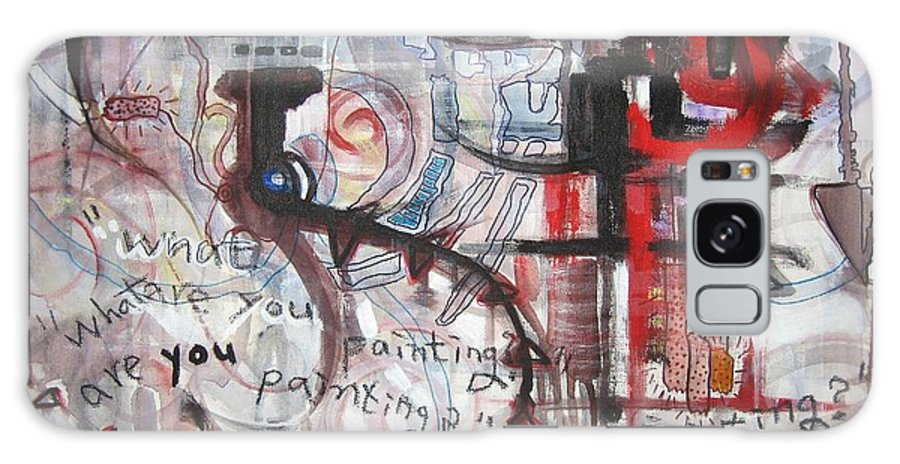Abstract Paintings Galaxy Case featuring the painting What Are You Painting-red And Brown Painting by Seon-Jeong Kim