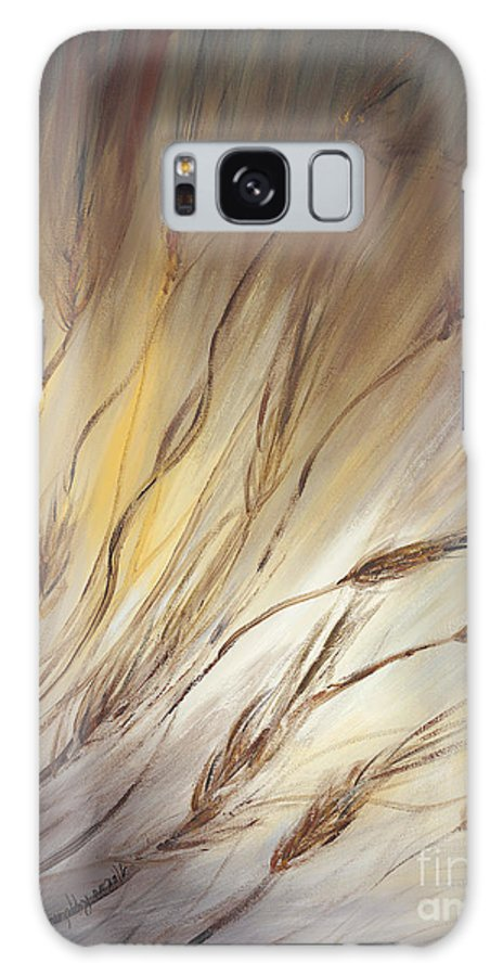 Wheat Galaxy Case featuring the painting Wheat In The Wind by Nadine Rippelmeyer