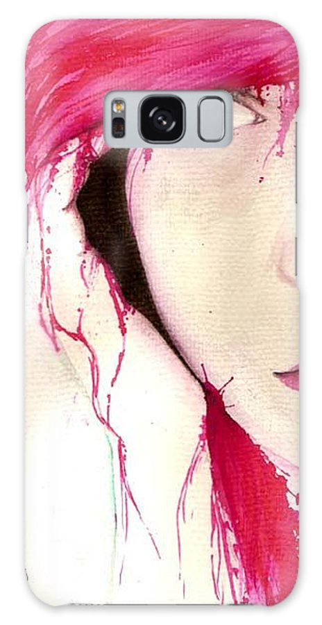 Pink Girl Galaxy S8 Case featuring the drawing Where Do You Think Beauty Goes by Freja Friborg