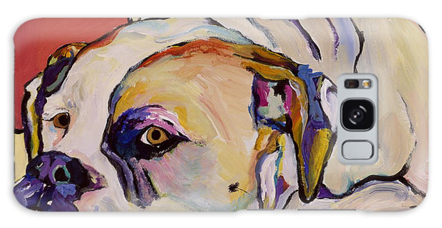 American Bulldog Galaxy S8 Case featuring the painting Where Is My Dinner by Pat Saunders-White