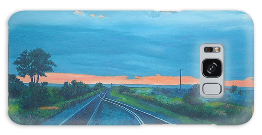 Railroad Tracks Galaxy Case featuring the painting Where Little Boys Play by Blaine Filthaut
