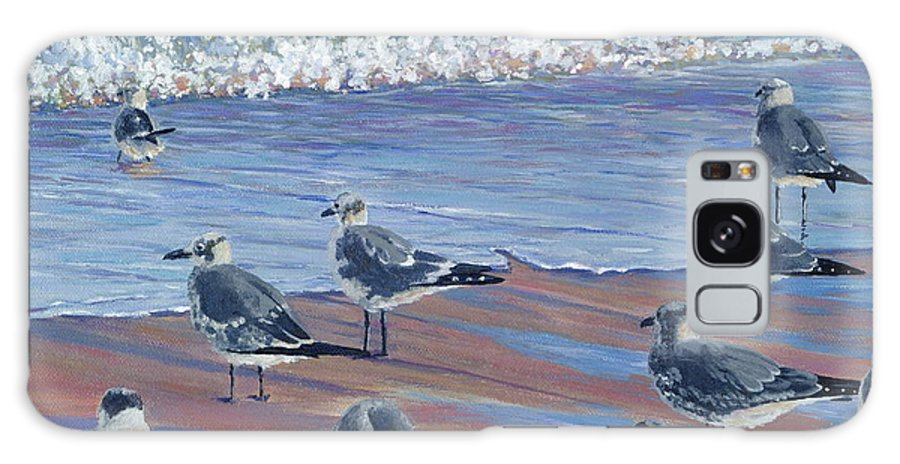 Beach Galaxy S8 Case featuring the painting Where Seagulls Play by Danielle Perry