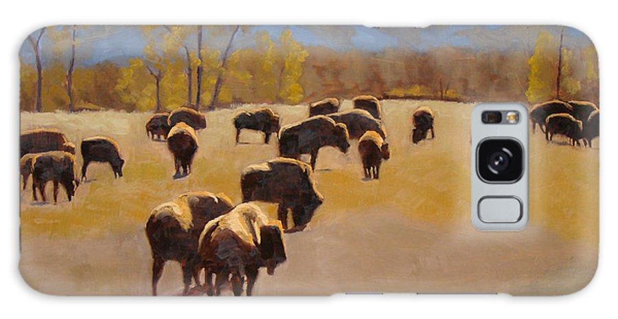 Buffalo Galaxy S8 Case featuring the painting Where The Buffalo Roam by Tate Hamilton