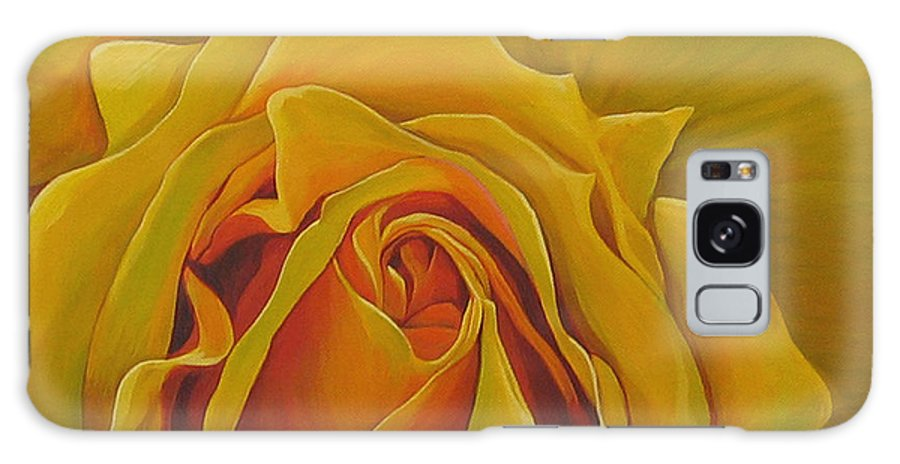 Yellow Rose Galaxy S8 Case featuring the painting Where The Rose Is Sown by Hunter Jay