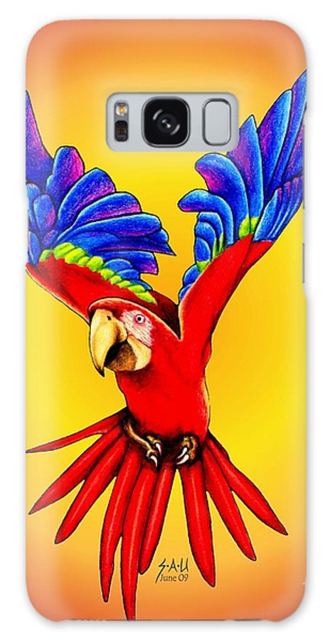 Macaw Galaxy S8 Case featuring the drawing Where Was I Suppose To Land by Sheryl Unwin
