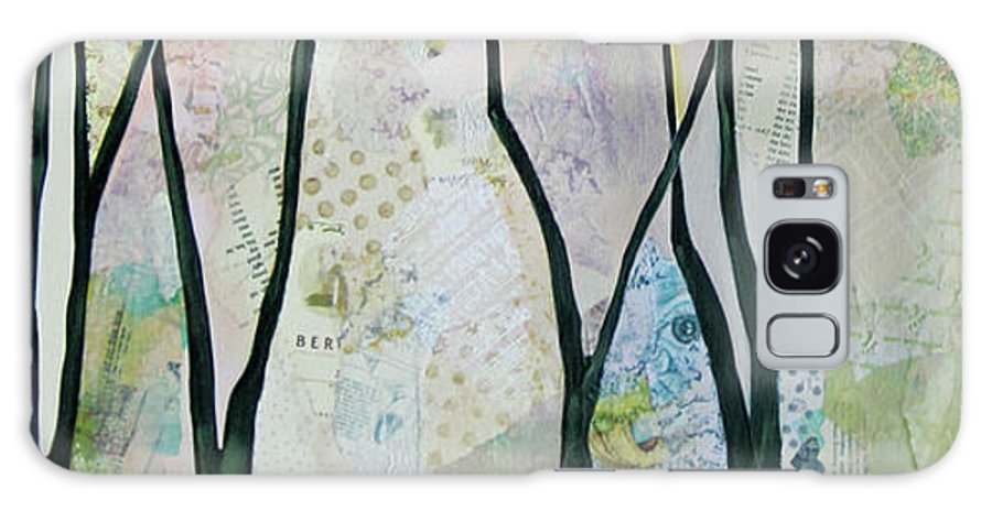 Tree Trees Green Emerald Sage Lime Celadon Soft Blue Silver Gray Poetry Poem Silhouette Contrast Transitional Blue Purple Plum Mist Forest Trails Abstract Nature Inspired Quite Reflection Whimsical Soft Accent Galaxy Case featuring the painting Whimsy I by Shadia Derbyshire