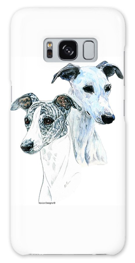 Whippet Galaxy S8 Case featuring the painting Whippet Pair by Kathleen Sepulveda