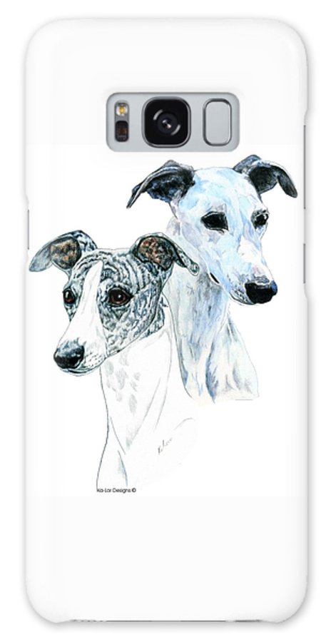 Whippet Galaxy Case featuring the painting Whippet Pair by Kathleen Sepulveda