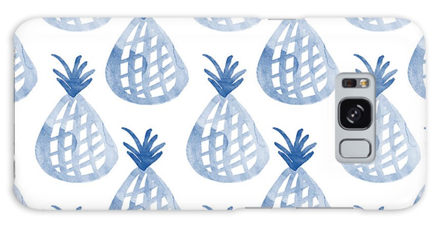 Pineapple Galaxy Case featuring the mixed media White And Blue Pineapple Party by Linda Woods