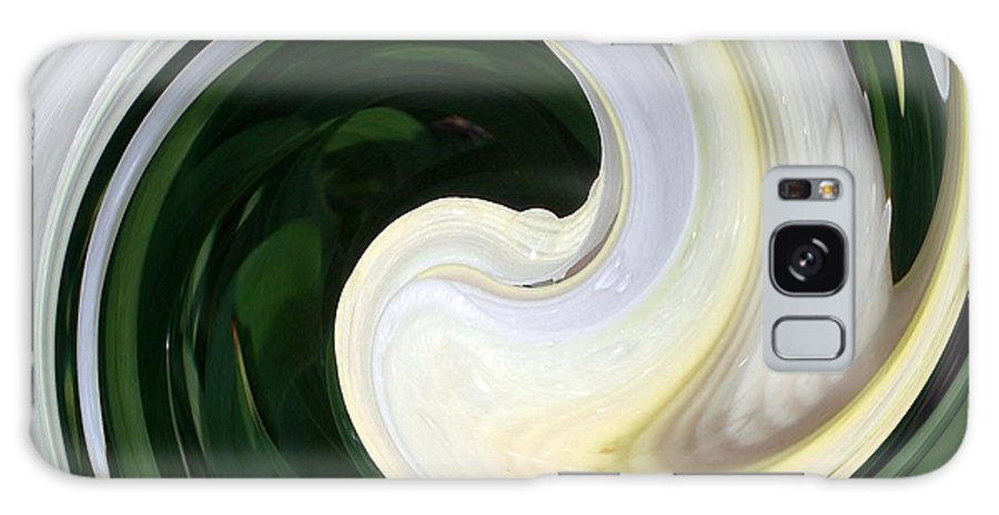 Abstract Galaxy S8 Case featuring the digital art White And Green Swirls by Sholeh Mesbah