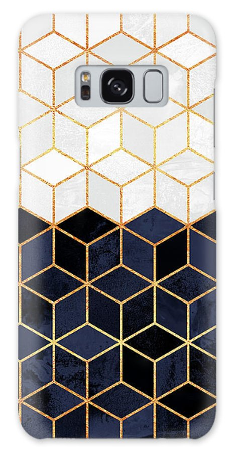 Graphic Galaxy Case featuring the digital art White and navy cubes by Elisabeth Fredriksson
