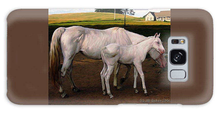 White Horses Galaxy S8 Case featuring the painting White Baby Horse by Jill Baker