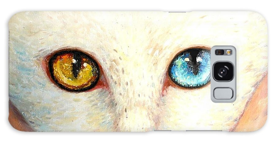 Portrait Galaxy S8 Case featuring the painting White Cat by Shijun Munns
