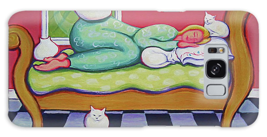 Rebecca Korpita Galaxy S8 Case featuring the painting White Cats - Cat Napping by Rebecca Korpita
