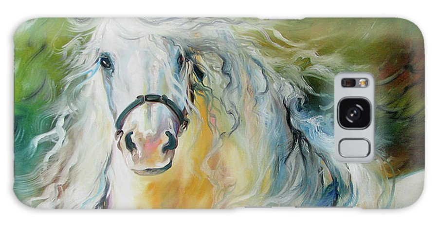 Horse Galaxy S8 Case featuring the painting White Cloud The Andalusian Stallion by Marcia Baldwin