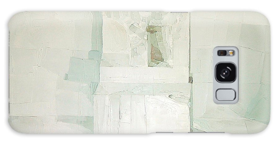 White (oil On Canvas) Cube; Geometric; Abstract; Form; Shape; Pure; Relief; 3-d; Three-dimensional; Painting; Solitude; 3 D; Three Dimensional; Abstraction; Mathematics; Damaged; Chair; Stone; Square Galaxy S8 Case featuring the painting White by Daniel Cacouault