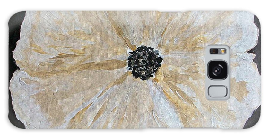 Flower Galaxy S8 Case featuring the painting White Flower On Black by Marsha Heiken
