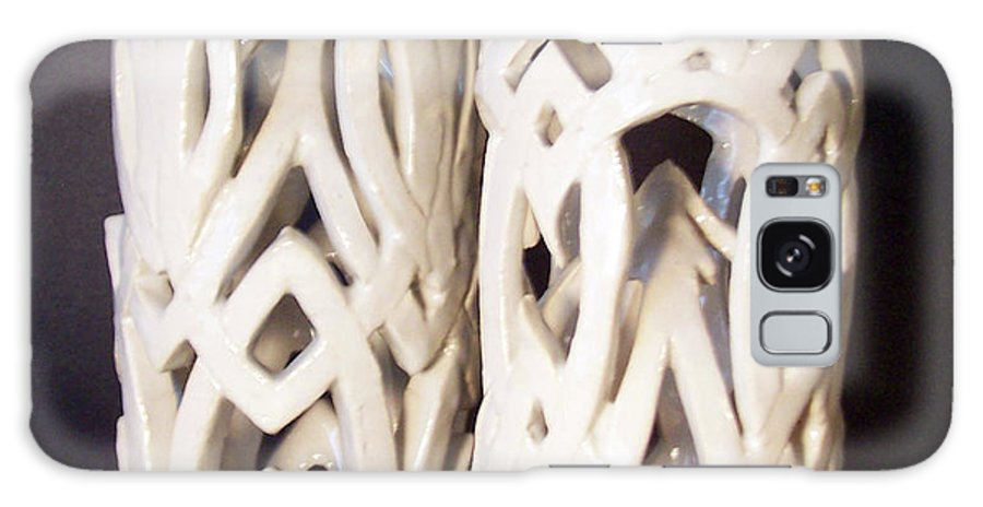 Clay Galaxy S8 Case featuring the sculpture White Interlaced Sculptures by Carolyn Coffey Wallace
