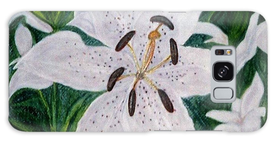 Florals Lillies Galaxy Case featuring the painting White Lillies by Brenda L Spencer