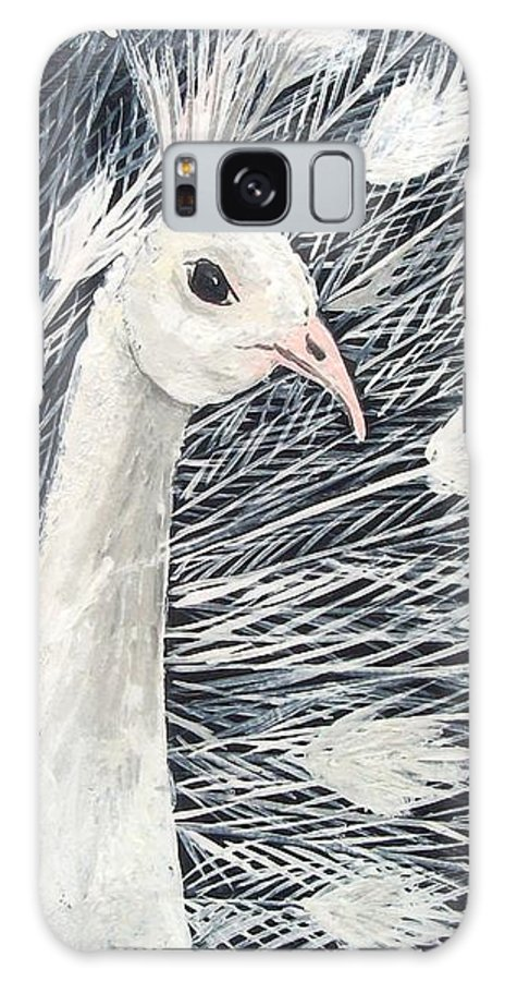 Peacock Galaxy Case featuring the painting White Peacock by Tami Booher